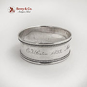 Narrow Napkin Ring Applied Beaded Rim Coin Silver 1850s