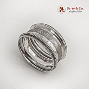 Matte Finish Engraved Napkin Ring Beaded Rim Coin Silver 1880