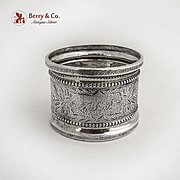 Beaded Engraved Matte Finish Napkin Ring Raised Band Rim Coin Silver 1875