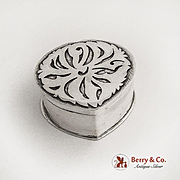 Hand Made Heart Shaped Pill Box Silver Overlay Lid Sterling Silver 1960