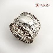 Repousse Scroll Napkin Ring Pie Crust Rims Sterling Silver 1903 Birmingham