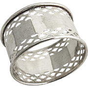 English Sterling Silver Napkin Ring Pierced Borders William Adams Birmingham 1929