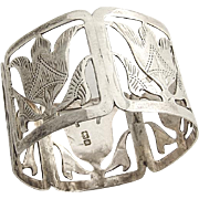 English Cut Work Floral Engraved Napkin Ring Sterling Silver