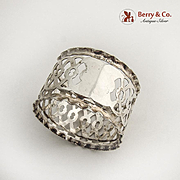 Ornate Cut Work Napkin Ring Sterling Silver Birmingham 1904