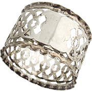 Ornate Cut Work Napkin Ring Sterling Silver Birmingham 1904