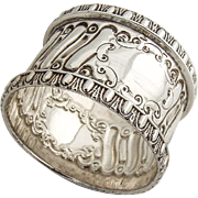 English Heavy Weight Repousse Napkin Ring Applied Rims Sterling Silver