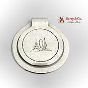 Modernist Round Money Clip Stylized Monogram Napier Sterling Silver