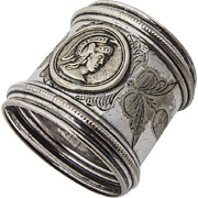 Engraved Medallion Napkin Ring Beaded Rims Silverplate 1870