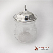Vintage Cut Glass Jam Jar Sterling Silver Lid Watson Co 1940s