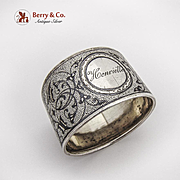 Belleflower Niello Napkin Ring Continental European 900 Silver 1900