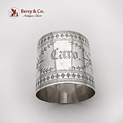 Aesthetic Wide Engraved Napkin Ring Coin Silver