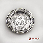 Engraved Dragon Coaster Cut Work Dragon Rim Chinese Export Silver 1900