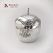Antique Floral Scroll Lidded Jar Fleur De Lis Finial Shiebler Sterling Silver 1890