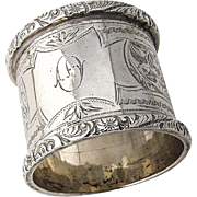 English Engraved Napkin Ring Applied Floral Rims Sterling Silver 1909 Birmingham