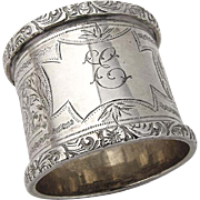 Engraved Napkin Ring Applied Floral Scroll Rims Sterling Silver 1909 Birmingham