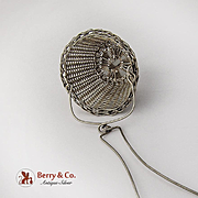 Art Nouveau Braided Wire Tea Strainer Basket Sterling Silver 1900