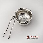 Vintage Tea Strainer Basket Spout Insert Sterling Silver 1900 Monogrammed