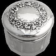 Repousse Floral Dresser Jar Cut Crystal Sterling Silver Lid