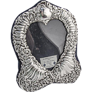 Repousse Floral Heart Picture Frame Sterling Silver 1988 London