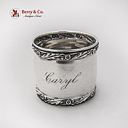 Barrel Shape Napkin Ring Floral Foliate Rims Sterling Silver 1910