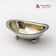 Bathtub Form Open Master Salt Beaded Rim Ball Feet Towle Sterling Silver 1900