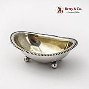 Bathtub Form Open Master Salt Beaded Rim Ball Feet Towle Sterling Silver 1900