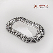 Repousse Floral Dresser Tray Wide Bands Gorham Sterling Silver 1900