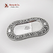 Repousse Floral Elongated Dresser Tray Wide Rims Gorham Sterling Silver 1900s