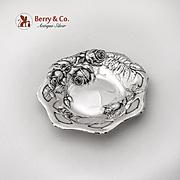 Art Nouveau Repousse Rose Bon Bon Candy Bowl International Sterling Silver