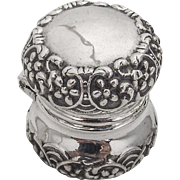 Floral Scroll Thimble Case Reddall Co Sterling Silver 1900 Newark NJ