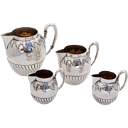German Jugendstil Creamer Set Gilt Interior Koch Bergfeld 800 Silver 1890
