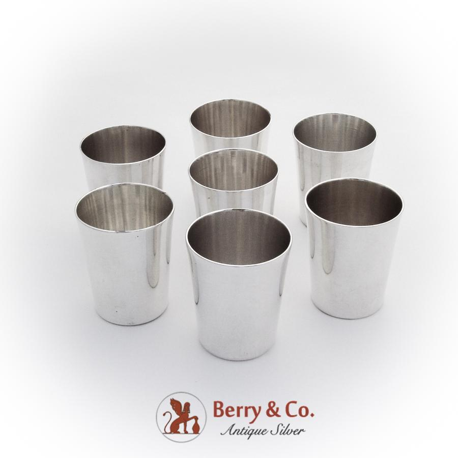 Mexican Large Shot Cups Set J L Reyes Sterling Silver