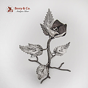 Standing Rose Flower Figurine Hecho En Mexico Sterling Silver