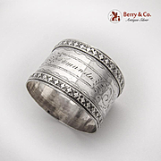 Engraved Napkin Ring Diamond Pattern Applied Rims Coin Silver