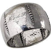 German Beaded Body Napkin Ring 835 Standard Silver 1920