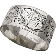 Art Nouveau Engraved Napkin Ring Towle Sterling Silver 1900