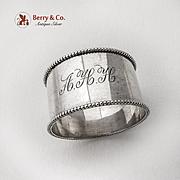 Dutch Large Napkin Ring Beaded Rims 833 Standard Silver 1900