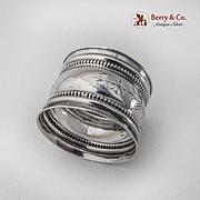 Foliate Engraved Beaded Napkin Ring Gorham Sterling Silver 1890