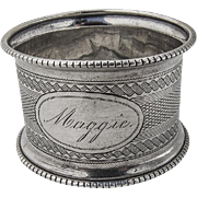 Antique Engine Turned Tapered Napkin Ring Coin Silver 1870