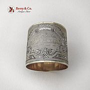 Engraved Floral Engine Turned Napkin Ring Gilt Interior Rims Coin Silver 1880
