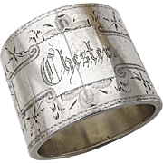 American Sterling Silver Napkin Ring Engraved Foliate Patterns