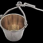 Russian Soviet Tea Strainer Basket Engraved Gilt Interior 875 Standard Silver