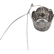 Repousse Floral Scroll Tea Strainer Basket French 1st Standard 950 Silver 1900