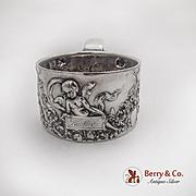 Repousse Cherub Floral Garland Shaving Mug Reed Barton Sterling Silver 1890