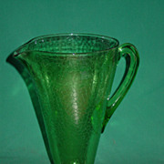1930's Green Depression Glass Pitcher Jeanette Crackle Glass Art Deco