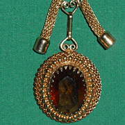 Vintage Sarah Coventry Necklace Faceted Amber Glass Stone Pendant