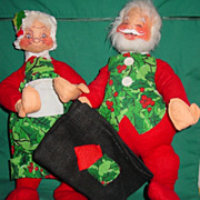 Vintage Annalee Mobilitee Christmas Santa and Mrs. Claus Dolls 1963 Large 16""