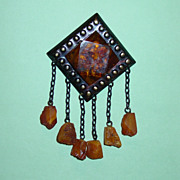 Vintage Art Deco Baltic Amber Brooch Brass Frame Dangles