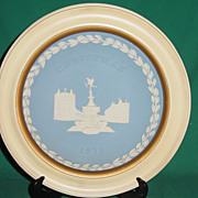 Vintage Wedgwood Jasperware Christmas Plate 1971 Piccadilly Circus with Frame