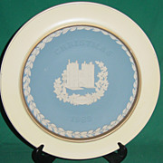 Vintage Wedgwood Jasperware Christmas Plate 1982 Lambeth Palace with Wood Frame